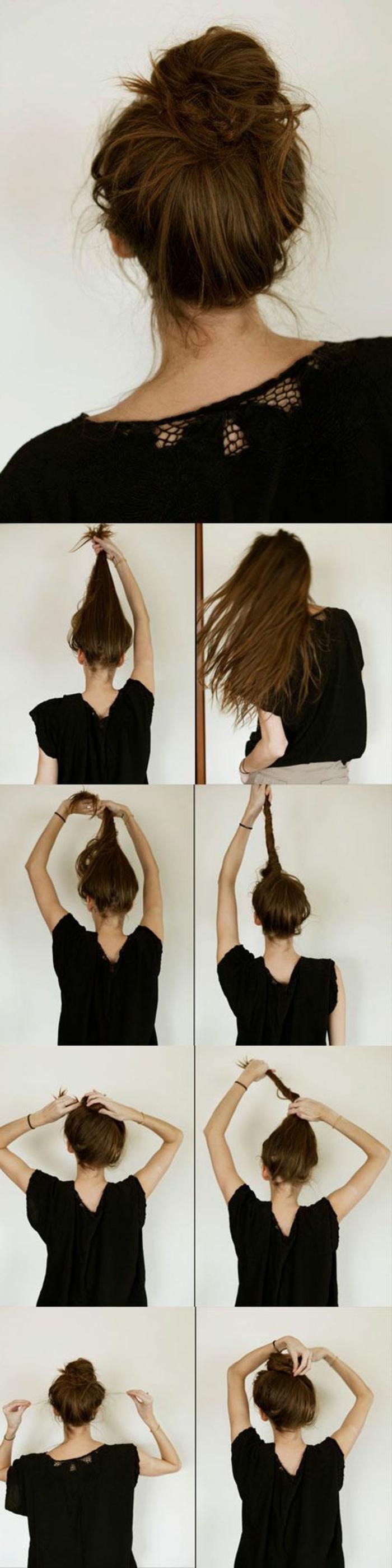 chignon facile à faire, chignon placé en haut de la tête sur cheveux très longs