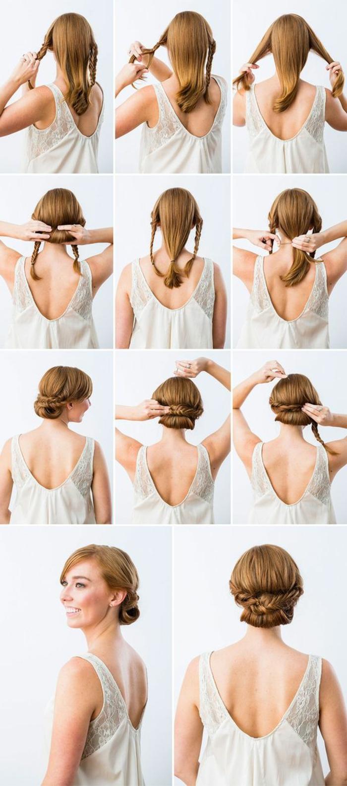 chignon facile à faire, coiffure diy facile avec tresse et cheveux enroulés