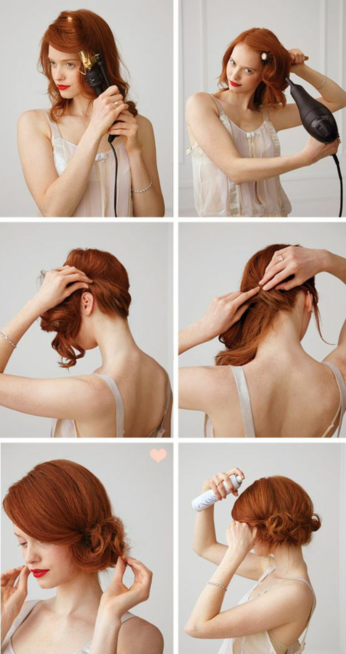 chignon facile et rapide, cheveux frisés et enroulés de côté