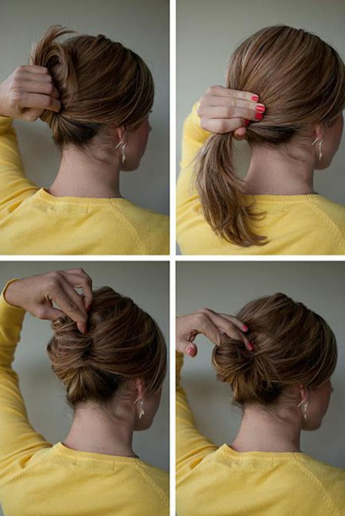coiffure chignon facile, chignon simple à faire tout seul avec ses deux mains et un pince