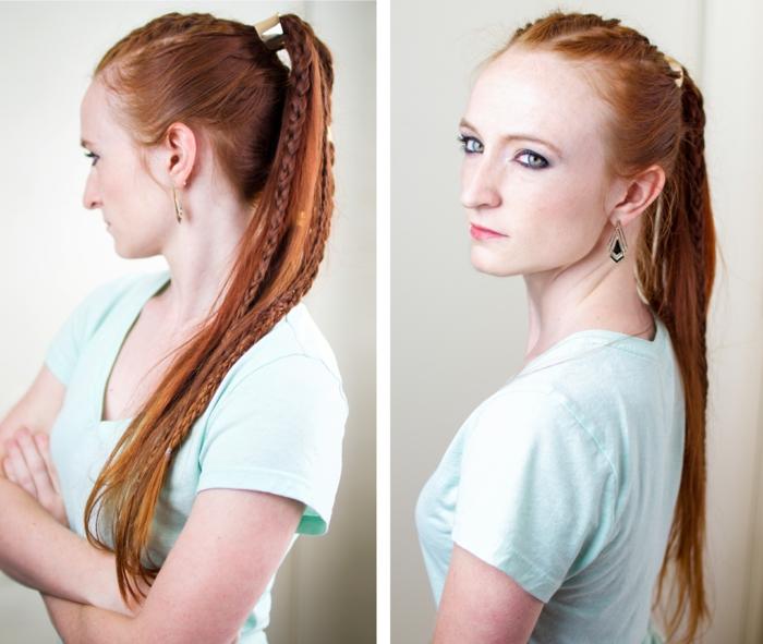 tresse viking, cheveux longs et cuivrés, t-shirt vert clair, pince à cheveux en métal argenté