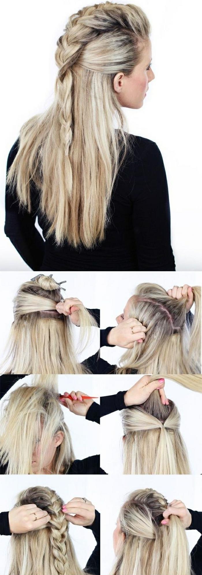 vikings lagertha, cheveux blonds, manucure rose, tutoriel comment faire une coiffure viking, tresse en haut