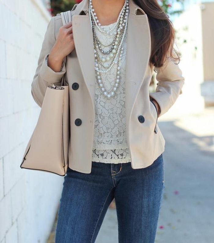 collier perles porté avec une blouse en dentelle et un grand sac rose