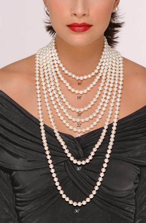 le collier de perle blanche diverses longueurs pour vous orienter