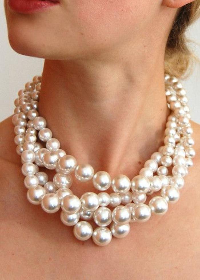 colliers perles de culture tout près du cou grandes éléments blancs