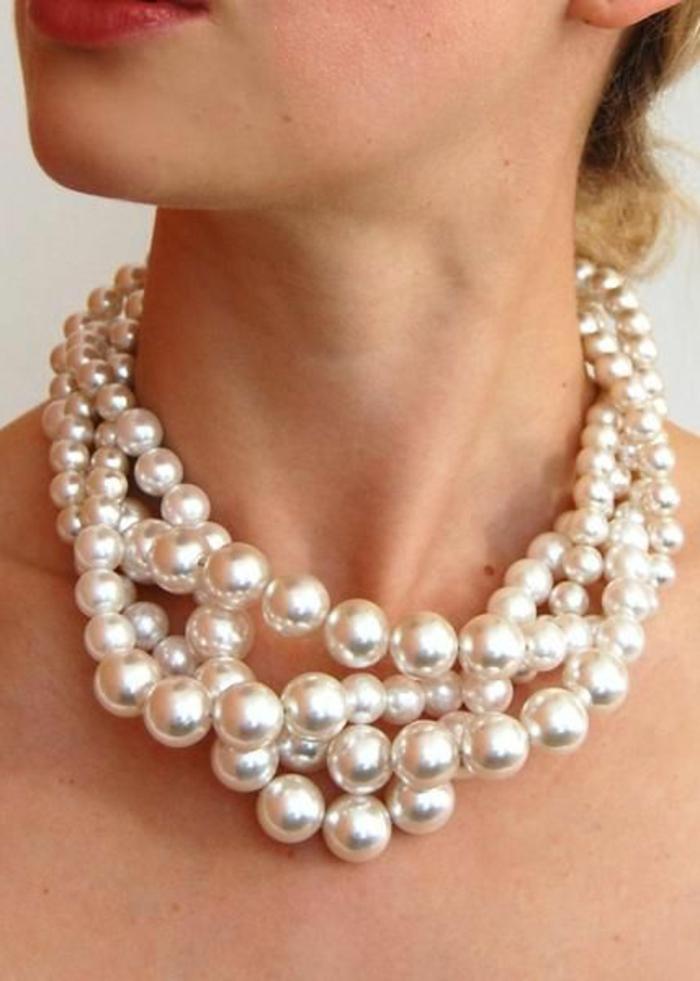 collier perle de culture effet sophistiqué et massif sur la peau nue grand effet