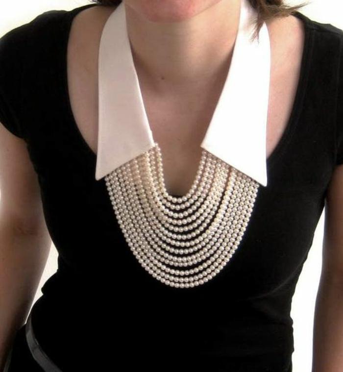 perle de culture collier motif col blanc pointu porté sur top noir