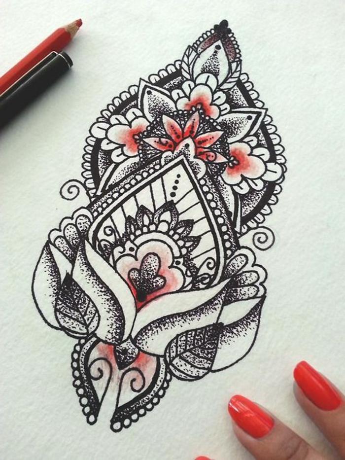 mandala à colorier, motifs floraux, feuilles rouges, manucure rouge, papier blanc, crayons