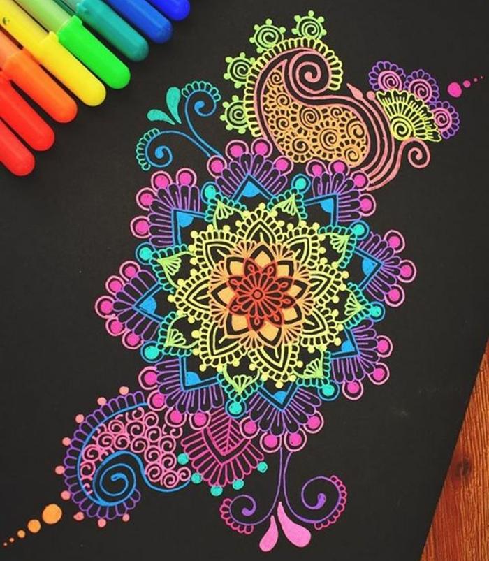 faire un mandala, papier blanc, table en bois, crayons, coloriage mandala, motifs floraux, volutes, cercles