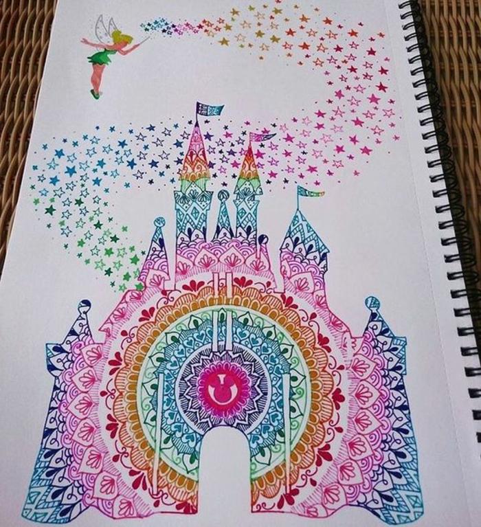 faire un mandala, fée verte, coloriage mandala, poussière d'étoile, palais mandala, cahier