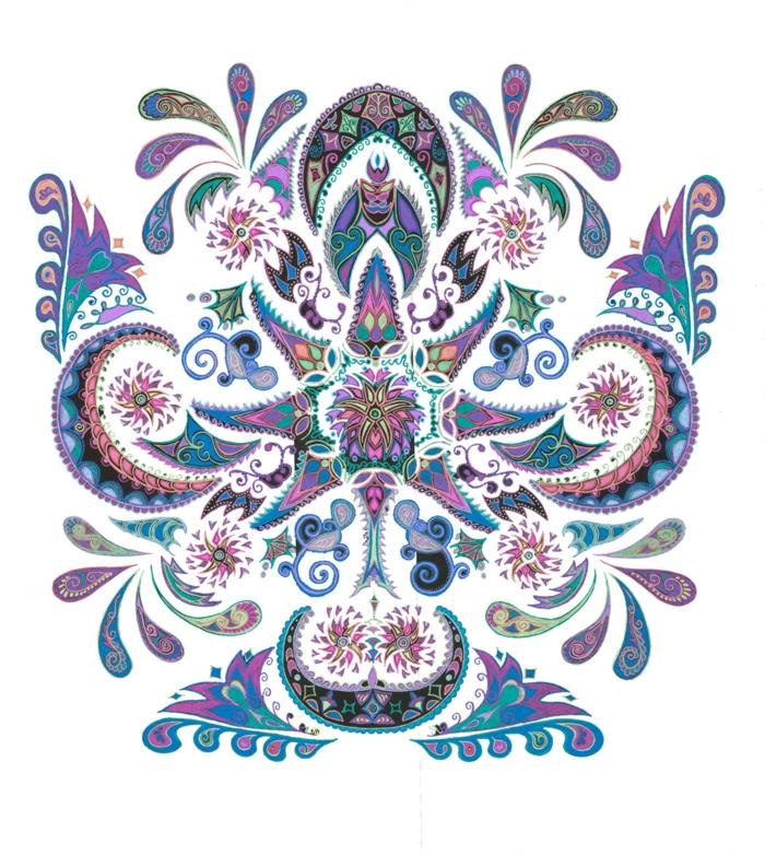 faire un mandala, motifs gouttes d'eau, mandala multicolore, papier blanc, volutes, motifs géométriques