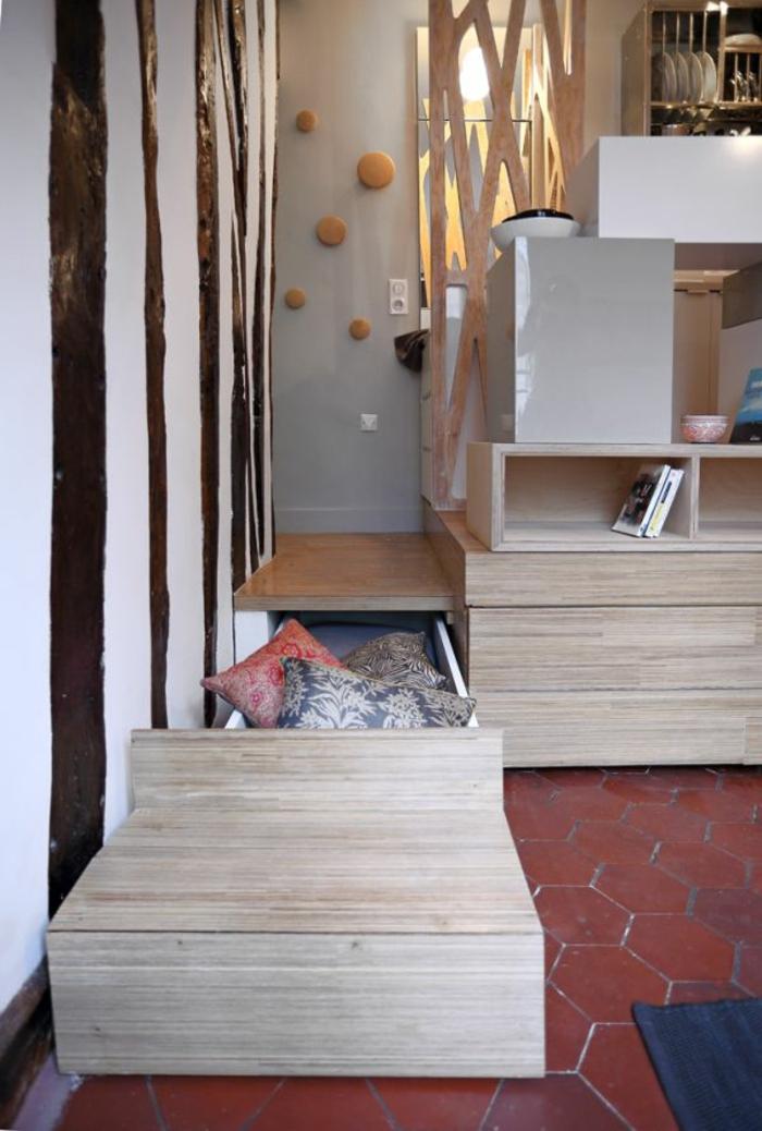 comment aménager une petite chambre, rangement astucieux de 10m2, tomettes hexagonales