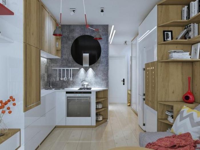 comment aménager une petite chambre, cuisine en L avec meubles blancs,