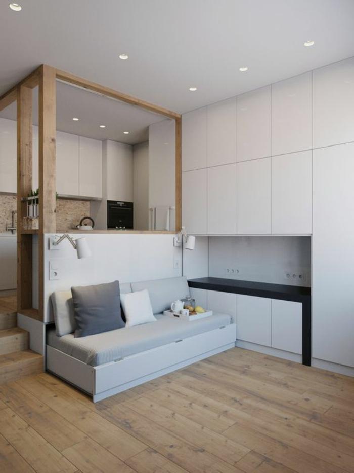 comment aménager une petite chambre, avec espace pour salon et cuisine