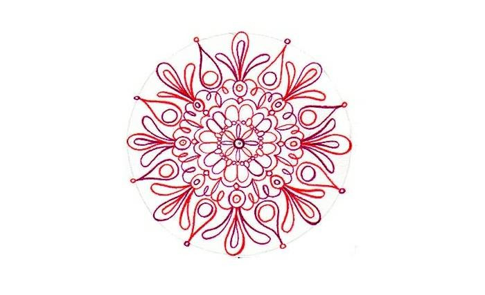 mandala facile a faire, volutes rouges, feuilles rouges, motifs floraux, papier blanc, cercle