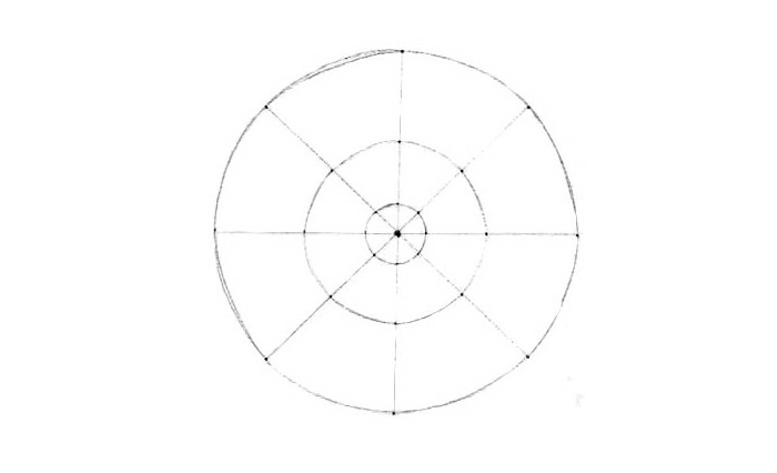 faire un mandala, dessiner des cercles, lignes diagonales, ligne verticale, points noirs, papier blanc, ligne horizontale
