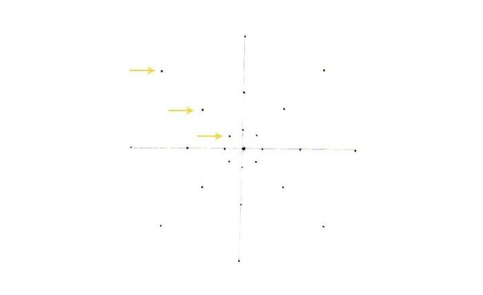 faire un mandala, flèches jaunes, lignes verticale et horizontale, points, papier blanc