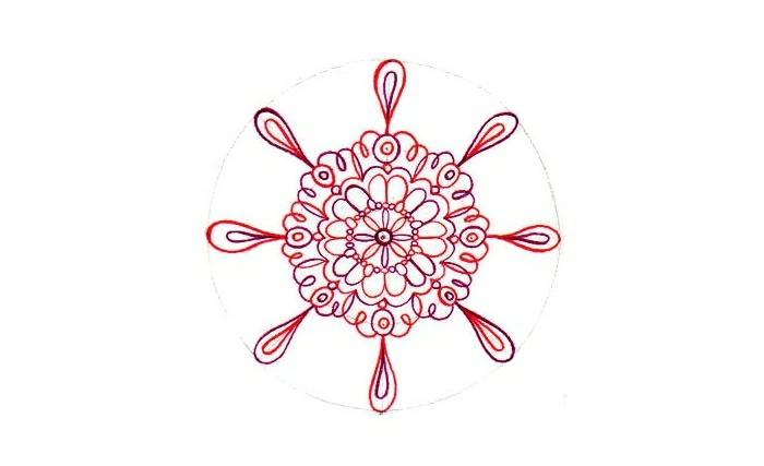 faire un mandala, cercles, motifs floraux, feuilles rouges, papier blanc, schème mandala
