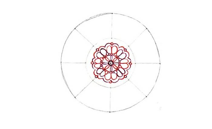 faire un mandala, feuille blanche, contours noirs, feuilles rouges, motifs floraux, cercles