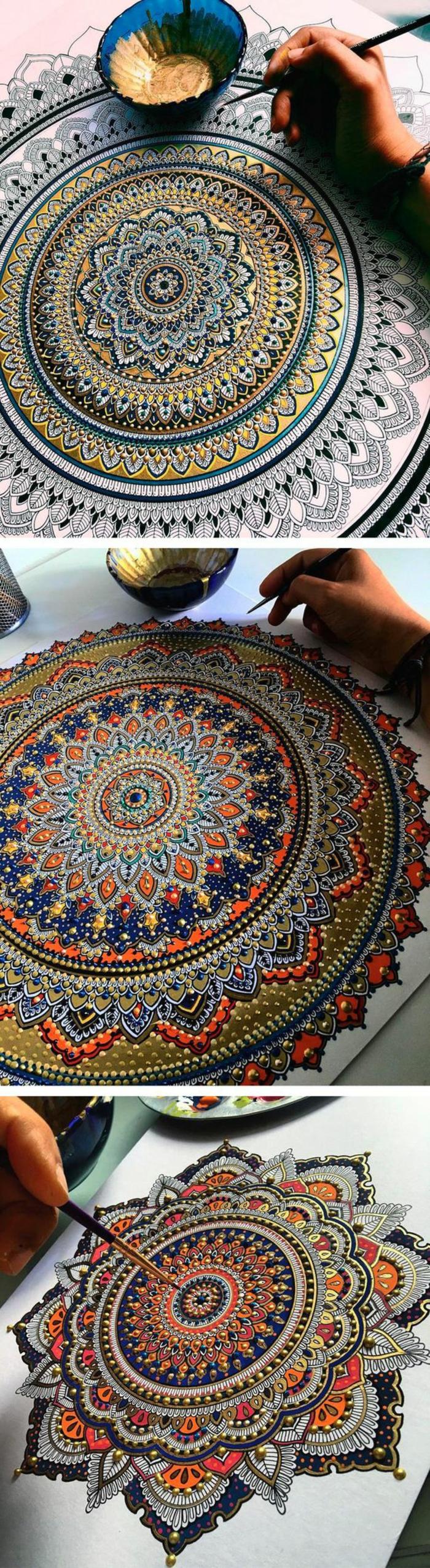 coloriage mandala, motifs floraux, pinceau, papier blanc, main, bol bleu, décoration dorée, aquarelle