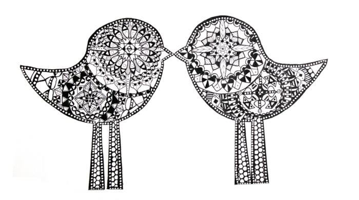 coloriage de mandala, oiseaux, motifs géométriques, volutes, mandala blanc et noir, papier blanc