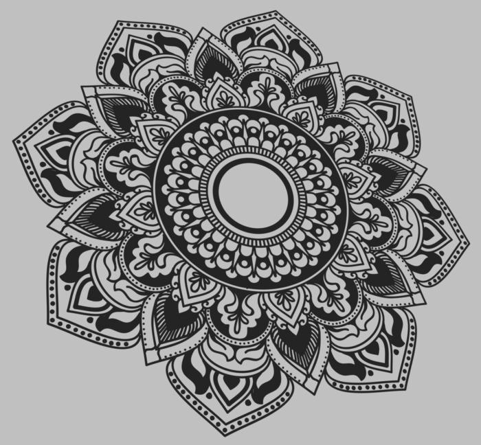 coloriage de mandala, papier blanc, mandala blanc et noir, cercles, motifs volutes