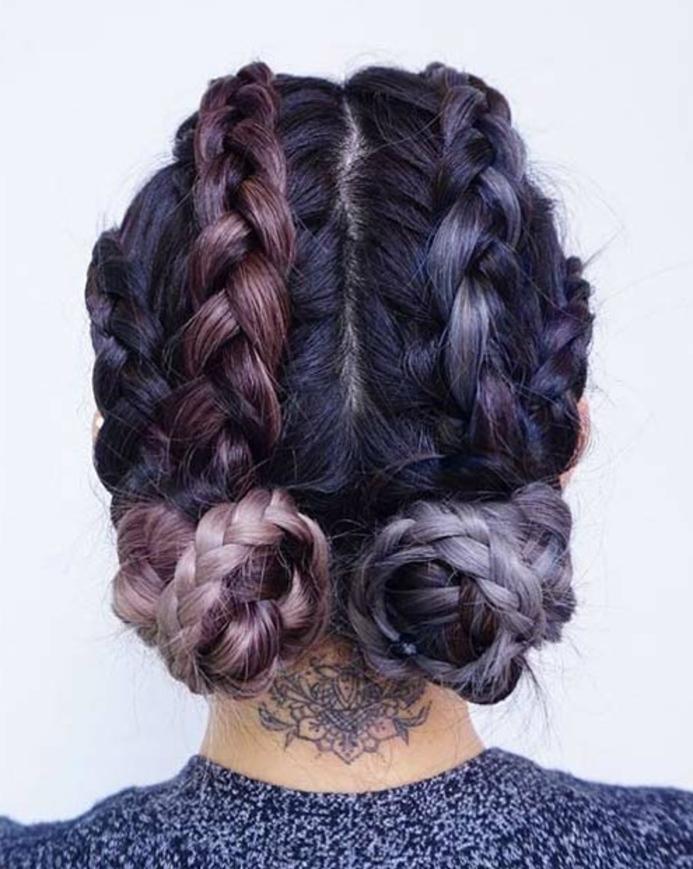 comment faire une tresse, exemple macarons bas tressés, tresses collées, cheveux couleur noire, rose et violine, tatouage nuque