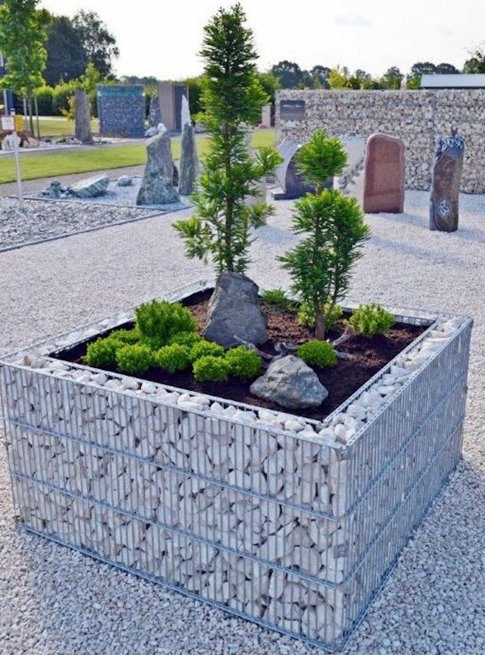 carré potager hauteur en pierre et métal