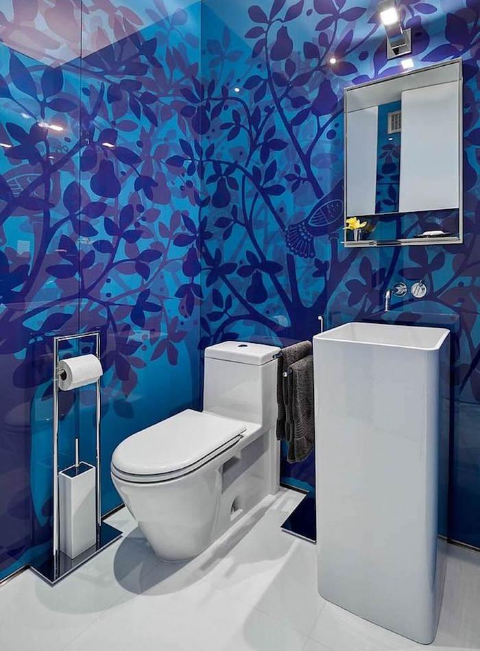 peinture toilette wc bleu faience carrelage zen