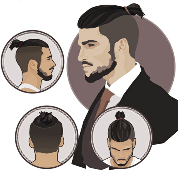 coiffure viking, illustration de man bun, undercut, barbe longue, petite queue de cheval, moustache