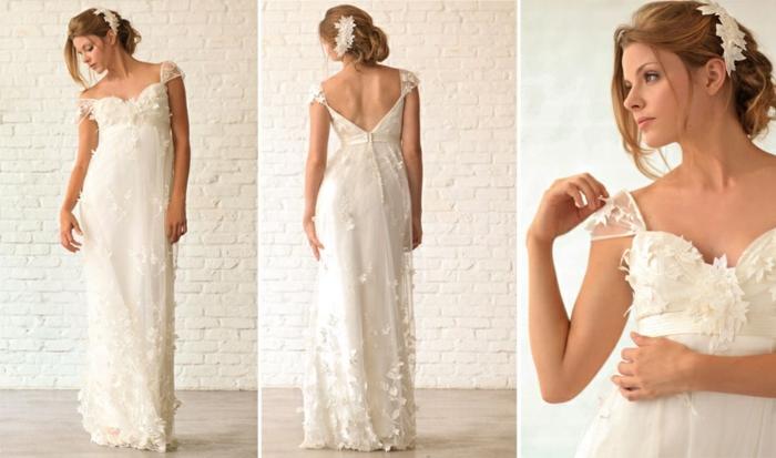 une robe empire longue fleuri à dos nus boutonné et à des manches cap