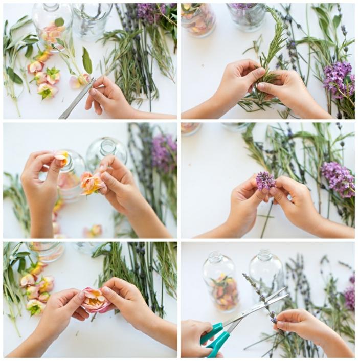 remplir la bouteille de fleurs et herbes fraiches, idee comment faire un parfum naturel, tutoriel étape par étape