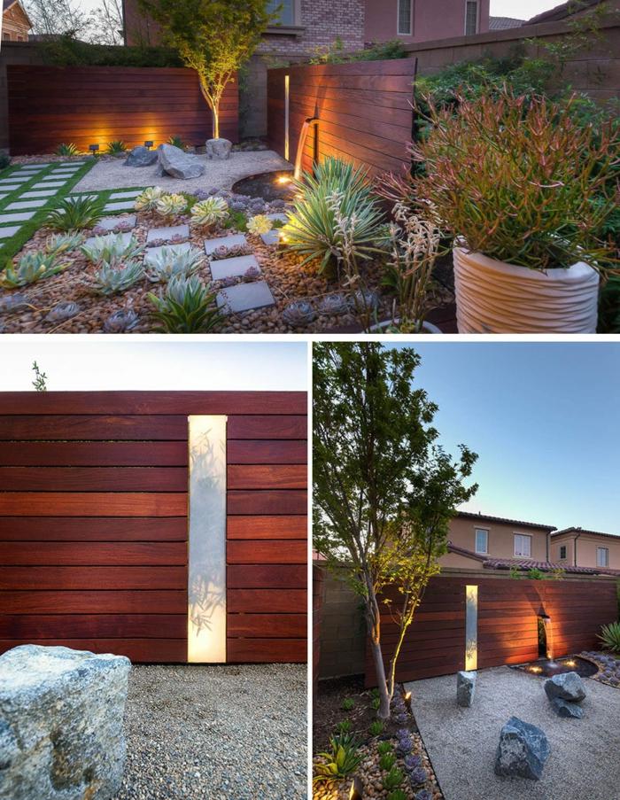 decoration exterieur, clôture en bois, éclairage de jardin, petit bassin d'eau à motif cascade, jardin zen