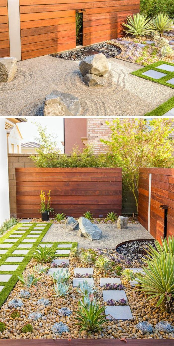 cailloux décoration jardin, clôture en bois, terrain sablé, rochers dans le jardin, plantes vertes