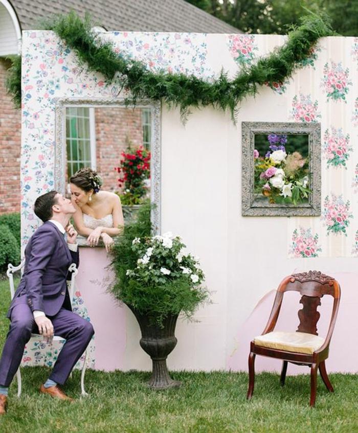 un décor original en trompe l'oeil, jolie idée photobooth créatif