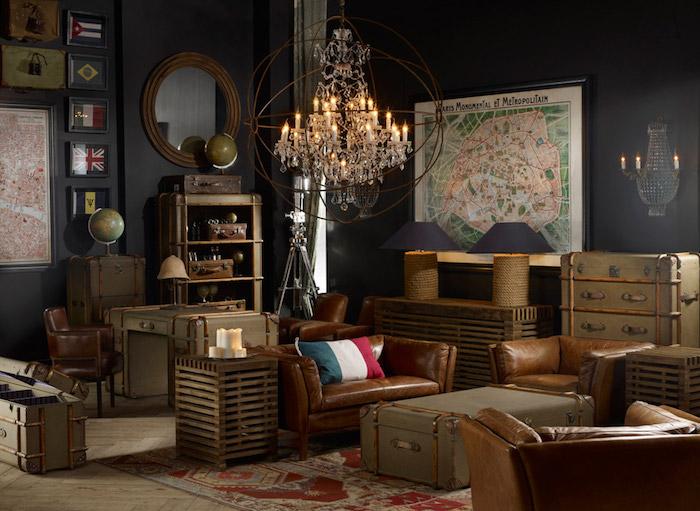 meubles anciens vieille malle ancienne pour idée déco retro salon