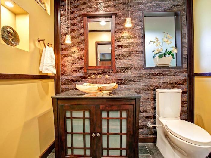 Idee Deco Wc Toilette Retro Meuble Lavabo En Bois Coupole Or