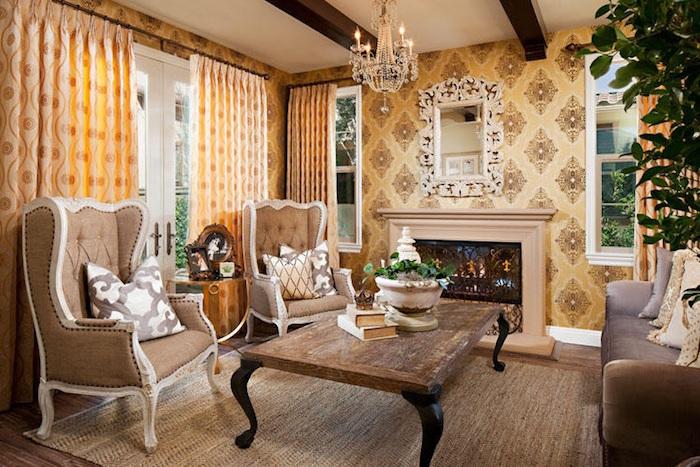 meubles anciens interieur vintage table basse en bois brut rustique