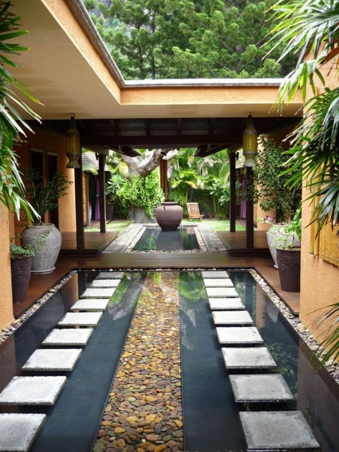 idee deco jardin, bassin d'eau, galets, grandes vases céramiques, plantes vertes, jardin zen japonais