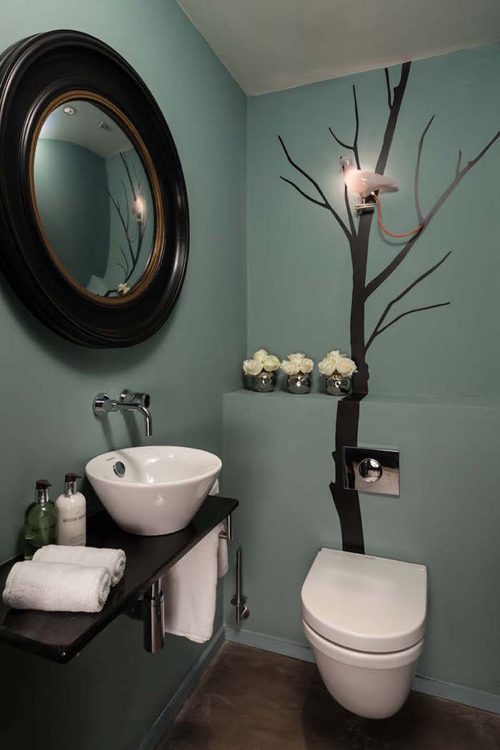 decoration arbre stickers wc noir nature
