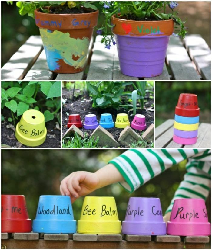 idee jardin, pot à fleur peint, bricolage enfant pour le jardin, plantes vertes ,terre, banc en bois
