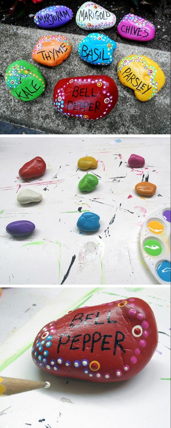 idee deco jardin a faire soi meme, galets rouge, lettres noires, galets peints, crayon jaune, peinture acrylique