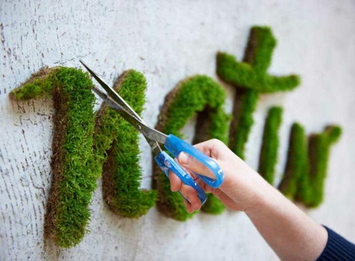 idee deco jardin, écrire un mot avec des lettres en mousse, paire de ciseaux bleus