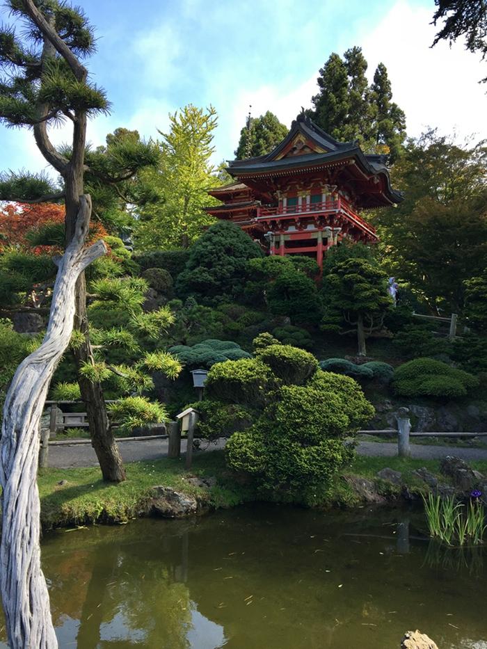 bouddha deco exterieur, pagode rouge, arbres verts, bassin d'eau avec mousse, idee deco jardin