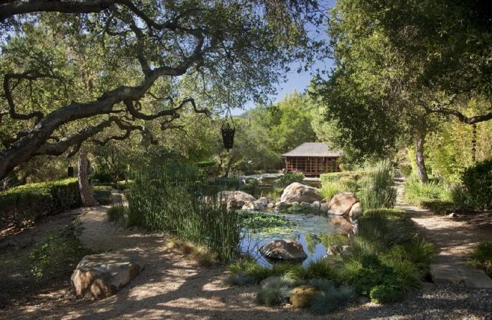 jardin zen, arbres, terrain sablé, parterre de fleurs avec galets, bassin d'eau, rochers dans l'eau, broussailles vertes