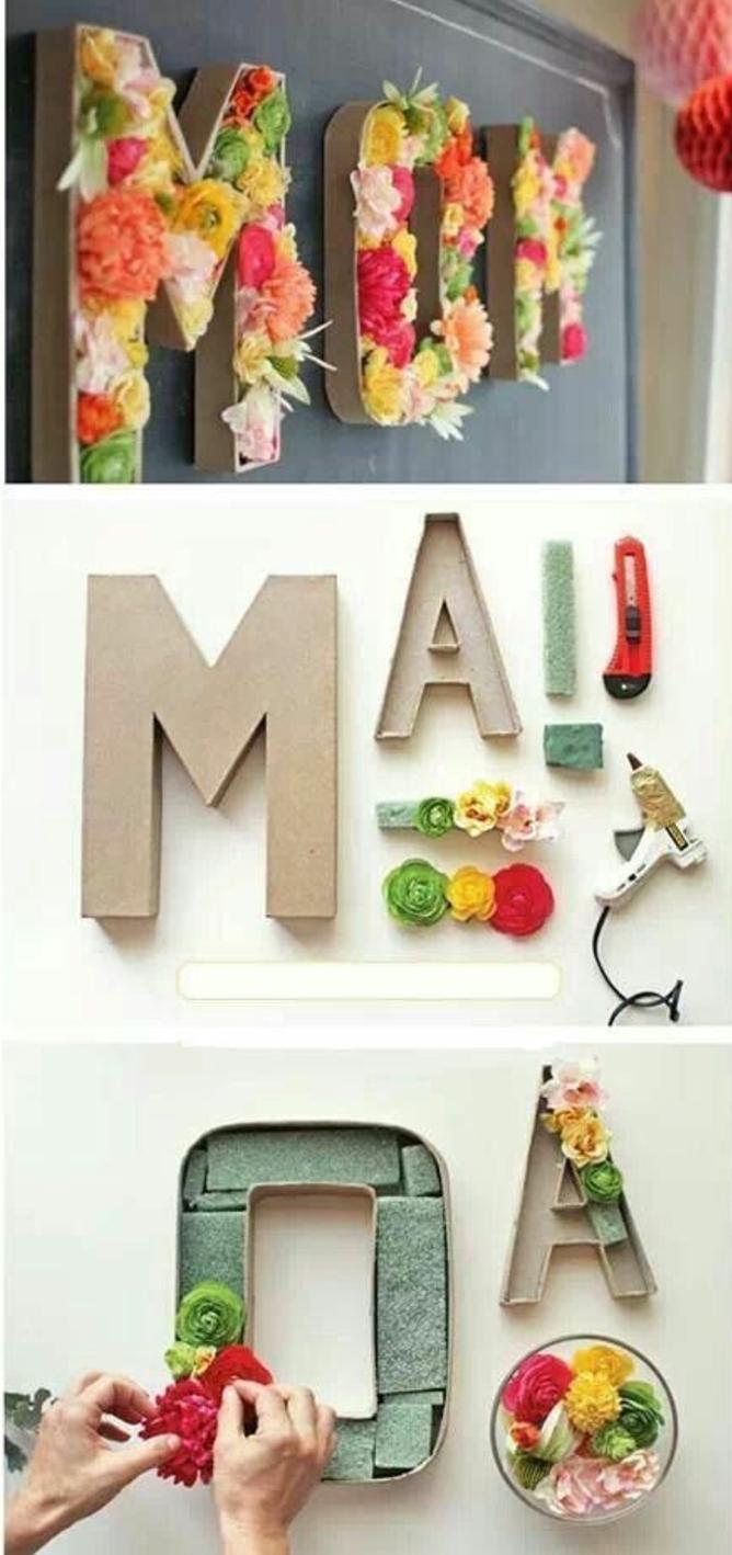 tutoriel cadeau pour la fete des meres, lettres en caron fleuris, fleurs de couleurs diverses, décoration pour surprendre maman
