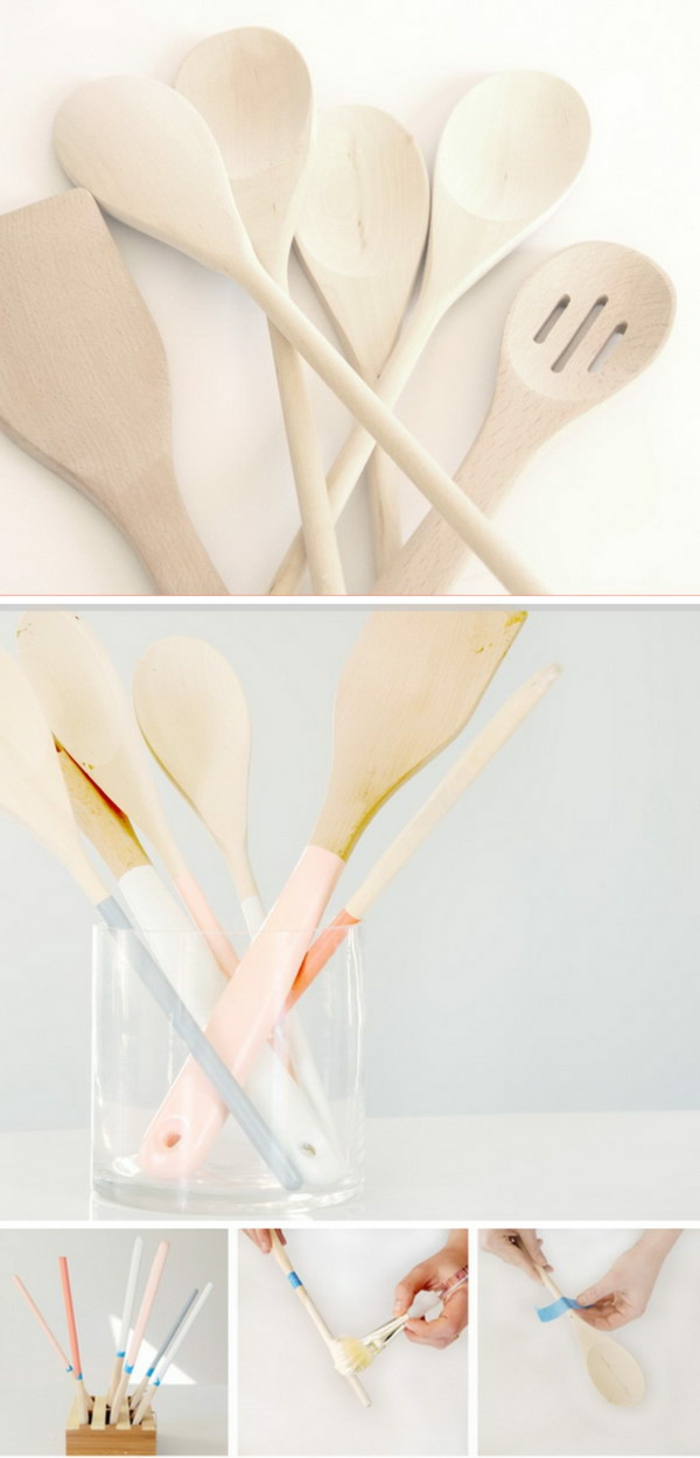 des ustensiles de cuisine customisés à la peinture et bandes de washi tape, cadeau pour la fête des mères à faire soi meme