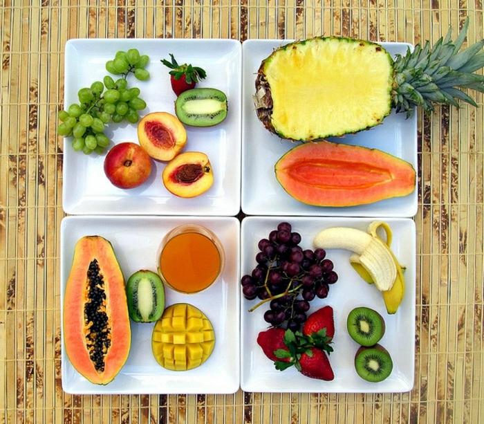 recette minceur, fruits, ananas, kiwi, raisin, banane, fraises, pêches