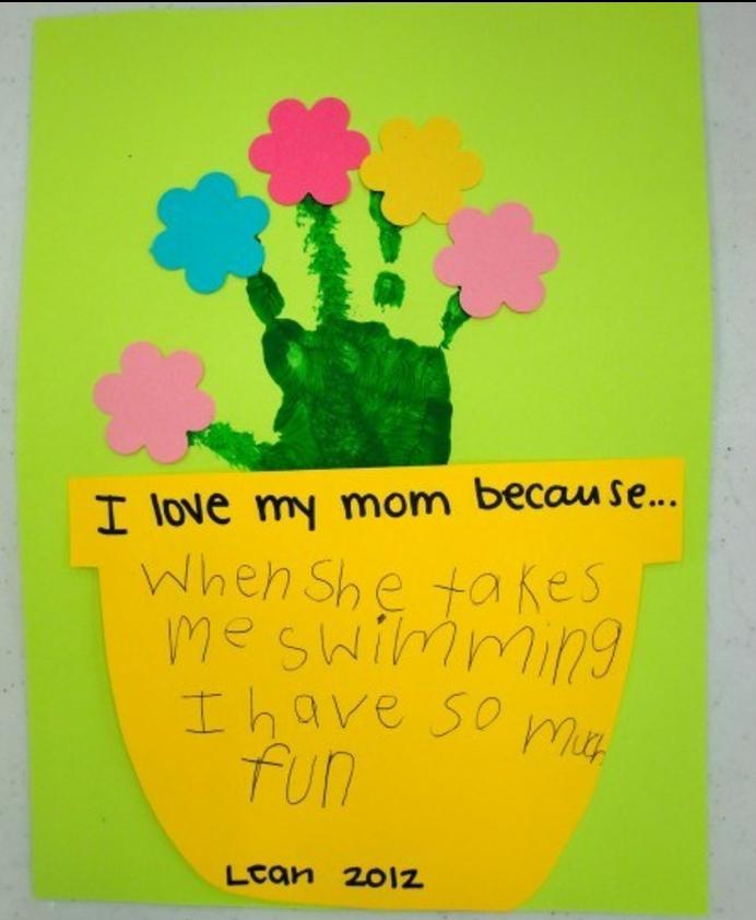 carte de voeux personnalisée pour maman, papier coloré, pot de fleur jaune en papier, empreinte de main et fleurs en papier multicolores, cadeau fete des meres, activité manuelle maternelle