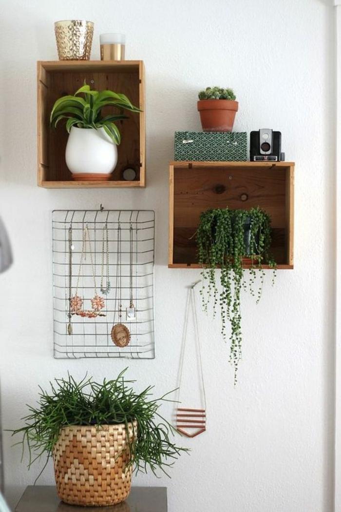 etagere cagette, plusieurs caisses en bois transformées den rangement pour plantes interieurs, détails décoratifs vintage, appareil photo retro et porte bijoux